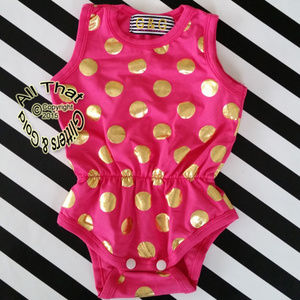 Hot Pink and Gold Girls Romper Onepiece Bodysuit